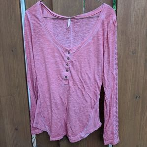 Free people pink lace sleeve detail long sleeve